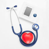 Blood pressure measuring tools with red heart - studio shoot on - 1 to 1 ratio — Stock Photo