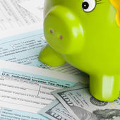United States of America Tax Form 1040 with piggy bank - 1 to 1 ratio — Stock Photo