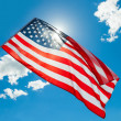 USA flag waving on blue sky background - 1 to 1 ratio — Stock Photo #50898943