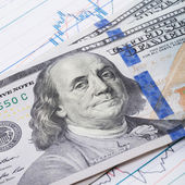 100 USA dollars banknote over stock market chart - studio shoot - 1 to 1 ratio — Stock Photo