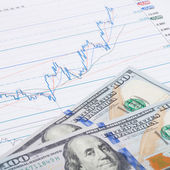 Stock market chart and 100 USA dollars banknote - studio shot - 1 to 1 ratio — Stock Photo