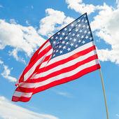 USA flag waving on blue sky background - 1 to 1 ratio — Stock Photo