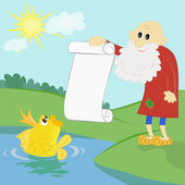 Old man and a goldfish — Stock Vector