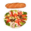 Antipasto and italian bread. — Stock Photo