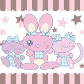 Kawaii cute baby pets — Stock Vector
