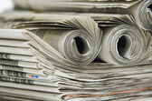 卷的报纸 — 图库照片