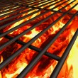Barbecue grill background with fire — Stock Photo