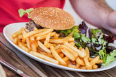 Fast food: with salad, burger and french fries — Stock Photo