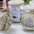 Stock Photo: Glass jar containing various craft materials