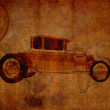 Stock Photo: Grungy vintage travel background with oldsmobile