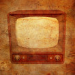 Grungy vintage background with TV and books — Stock Photo