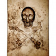 Skull and Crossbones over old damaged paper — Stock Photo