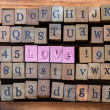 "Wood cube make word, ""love"" — Stock Photo"