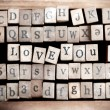 Wood cube make message i love you — Stock Photo