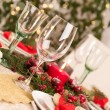 Christmas Table Setting with Holiday Decorations — Stockfoto #35564733