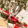 Christmas Table Setting with Holiday Decorations — Stok fotoğraf #35564733