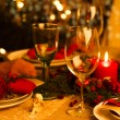 Christmas Table Setting with Holiday Decorations — Stok fotoğraf