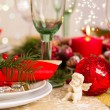 Christmas Table Setting with Holiday Decorations — Stock Photo #35928383