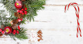 Natural winter background with christmas decoration — Stock Photo