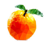Polygonal Orange Fruit Illustration — Stockvector