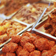 Food buffet served on hot trays — Stock Photo