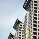 Three Modern Building Condominiums Skyscrapers — Stock Photo