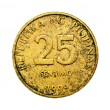 Stock Photo: Old 25 Centavo Philippine Coins Isolated