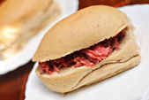 Pandesal Asian Bread Buns Sandwich with Corned Beef Filling — Stock Photo