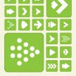Vector de stock : 2D Green Arrow Icon Set Background