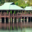 Stock Photo: Brown and Green Gazebos on Stilts Above Water