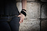 Grungy Asian Teenager Hand, Arms and Lower Body Detail — Stock Photo