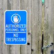 Authorized Personnel Only sign. - Stock Photo