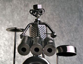 Drummer figurine made from various metals — Stock Photo