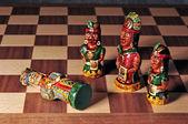 Ecuadorian chess board and pieces — Stock Photo