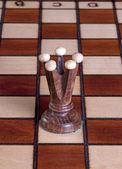 Wooden chess piece in exhibition — Stockfoto