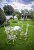 Garden table and chairs — Stok fotoğraf