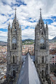 Two steeples of the Basilica of Quito — Stock Photo