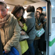 Crowded Subway -- A crowded rush hour subway. China is very crowded, and public transportation in Shanghai is hell. — Stock Photo