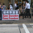 """Save Snowden, Save Freedom"" - Pro Snowden Sign in Hong Kong — Stock Photo"
