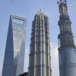 3 Tall Buildings in Shanghai, Including the Third Tallest Building in the World — Stock Photo
