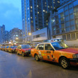 Taxis Park Off Duty Before Typhoon Usagi Hits — Stock Photo