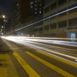 Car Light Trails at Street Crossing — Stock Photo