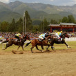Horse Racing: 3 Horses on Stretch — Stock Photo