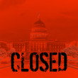 "Blood Red Capitol: The Capitol building in blood red with ""Closed"" text illustrating American government shutdown. — Stock Photo"