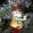 Santa Claus Going Fishing Ornament — Zdjęcie stockowe