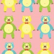 Colorful cartoon bears — Stock Vector