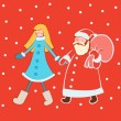 Santa Claus with snow Maiden in bright clothes — Stock Vector #36263565