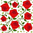 Pattern of red roses with green leaves — Stock Vector