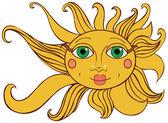 Bright yellow sun — Stock Vector