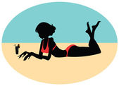 Silhouette of a young girl on the beach — Stock Vector